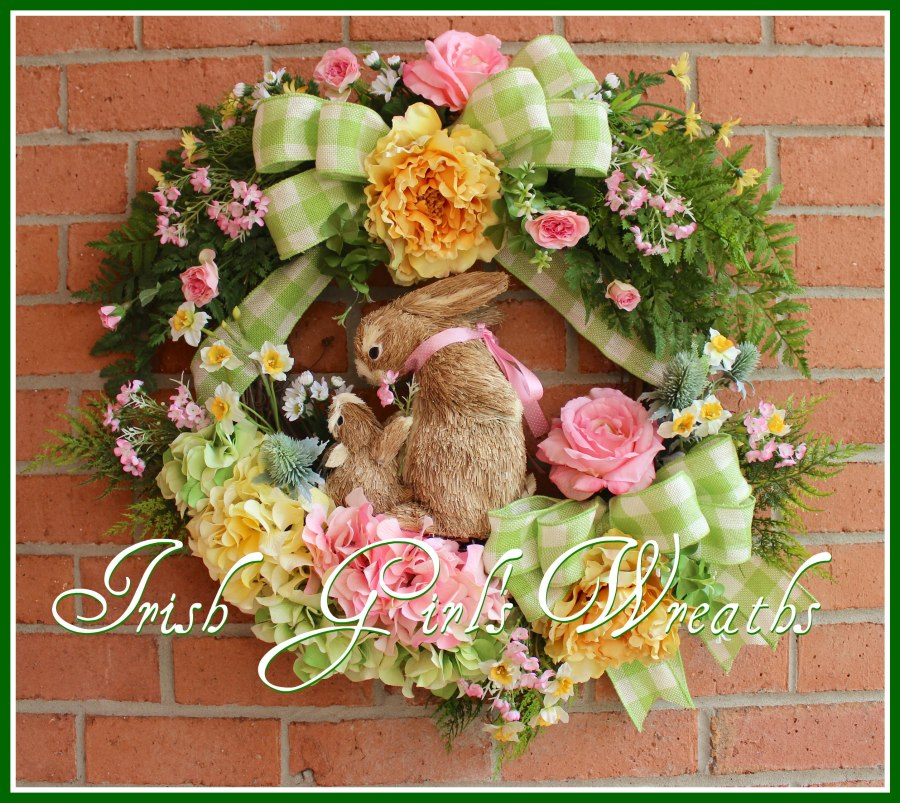 Large Pink and Yellow Spring Bunny Rabbits Wreath, Mother baby, Easter, hydrangea, Rose, Peony, Green, Daffodil, Burlap, Garden, Cottage