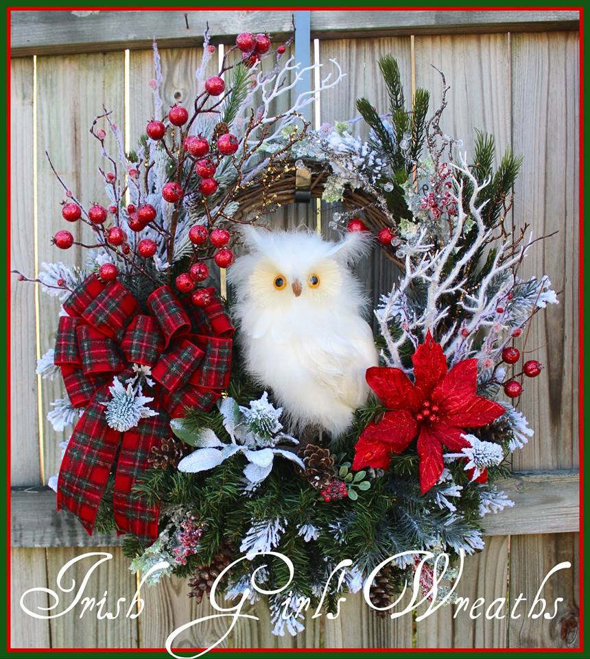 Large Rustic Red Winter Snow Owl Wreath