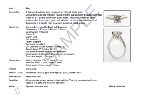 example of a jewellery valuation