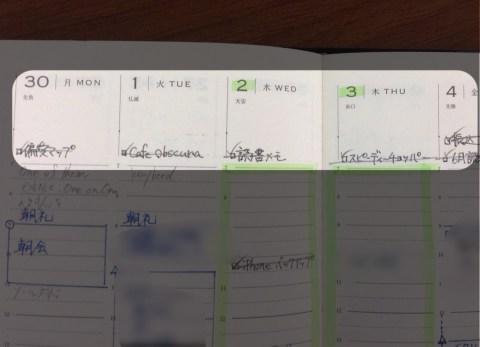 手帳にアップ予定のネタを書き込む