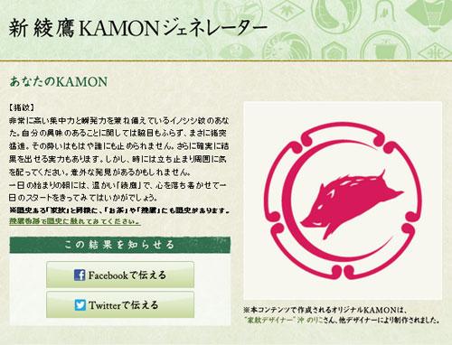 画像:綾鷹KAMONジェネレーター2診断結果