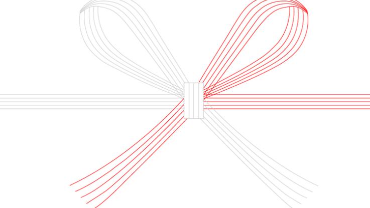 イラストレータで蝶結びの水引を作る