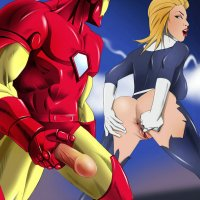 There is nothing can stop Iron man from completing his mission... except for a hot blond willing to be fucked in her round ass!