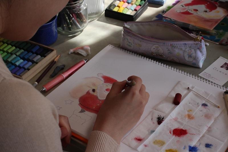 パステル画 クリスマス サンタクロース 12月 明日香 色のね メルヘン いろのね ironone イラスト 絵 アート