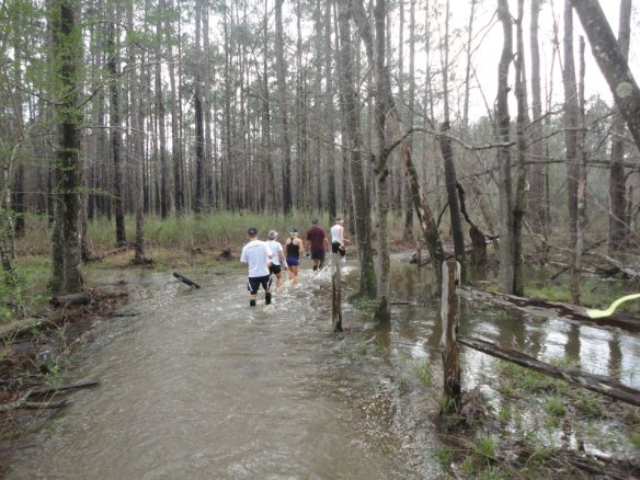 The first of many water crossings.