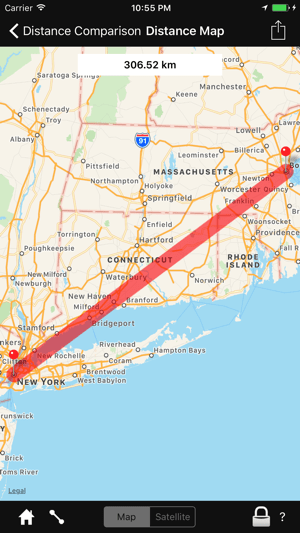 Distance Comparison Map on the App Store Screenshots