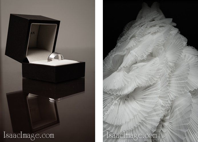 wedding ring and dress