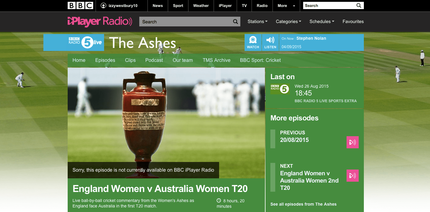 BBC 5 Live Sports Extra     Men   Isabelle Westbury BBC Cricket  Demo Tape     Isabelle Westbury 2015