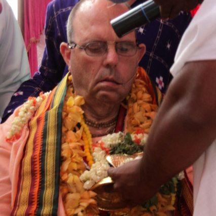His Holiness Jayapataka Swami with Ananta Sesa Deity