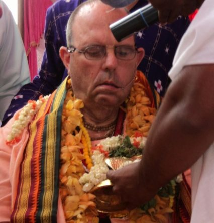 His Holiness Jayapataka Swami with Ananta Sesa Deity