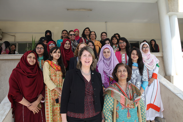 U.S. Embassy Islamabad Counselor for Public Affairs Christina Tomlinson and FJWU VC Dr. Samina Qadir with students at the opening ceremony of Susan B. Anthony Reading Room in Rawalpindi