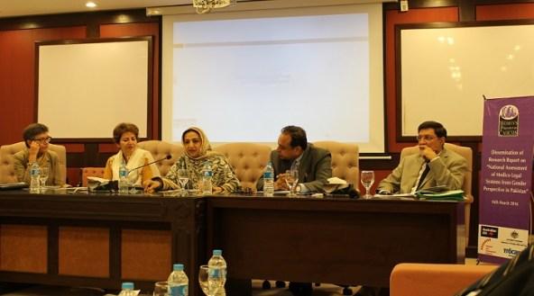 L to R - Australian HC Margaret Adamson, MNA Saira Afzal Tararr, SAPM for Law Mr. Ashtar Ausaf Ali and National Coordinator of NACTA, Mr. Ihsan Ghani. (Photo by Sana Jamal)