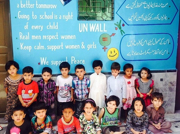 Peshawar School For Peace UN wall has some very powerful messages painted by students in KPK. Photo: UNICEF