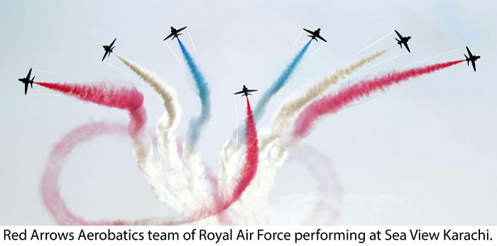 Airplanes of British Royal Air Force Red Arrows Aerobatic Team perform during an air show in southern Pakistani port city of Karachi on Oct. 5, 2017.