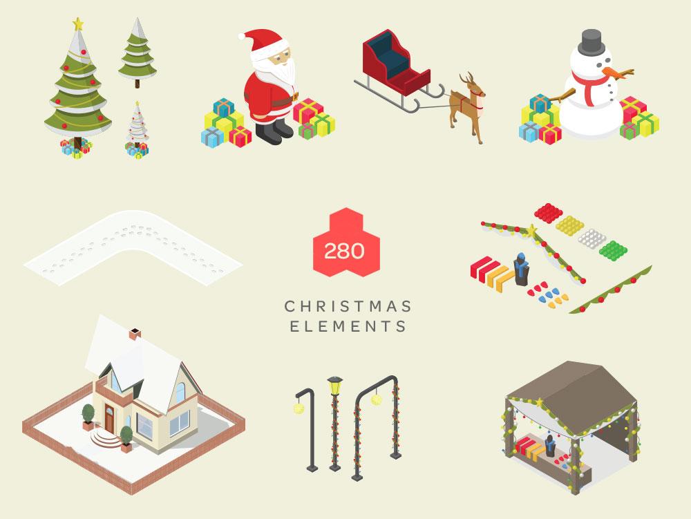 Christmas Isometric elements