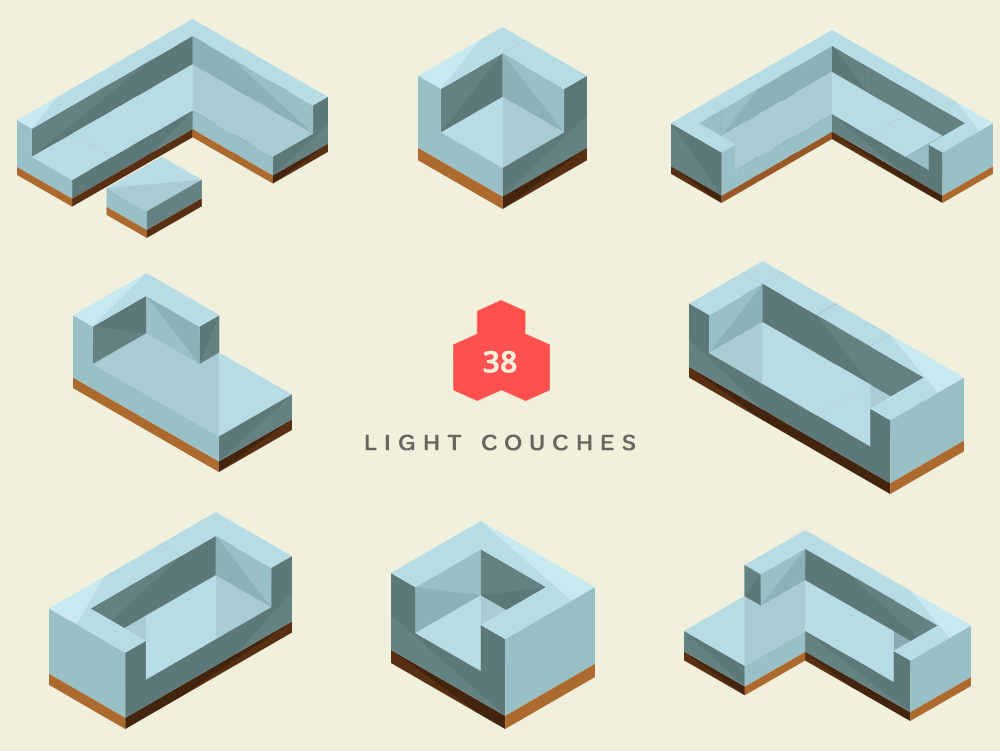 Isometric Light Couches