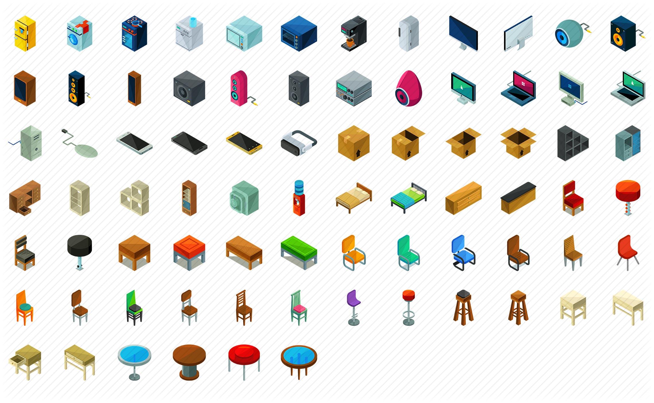 Interior Furniture Isometric Icons