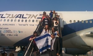 Some of a group of 221 North Americans arriving as immigrants to Israel, and greeted by Absorption Minister Ze'ev Elkin, July 14, 2015 (Courtesy)