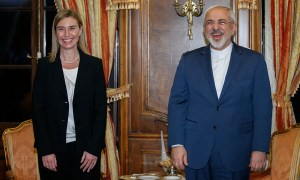 Not funny. Federica Mogherini (left) represented the European Union in nuclear negotiations with the Islamic Republic of Iran, a millenarian Shi'ite theocracy that calls for the annihilation of America and Israel. At right, Iran's foreign minister, Javad Zarif. (Image source: European Union)