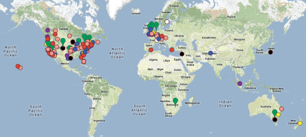 Worldwide map of iss above device locations after the kickstarter world map showing all iss above locations after the kickstarter gumiabroncs Images