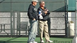 Bobby Goeltz, right, head coach of ISU men's and women's tennis.