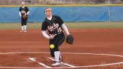 Amanda Fitzsimmons, 10, pitches at a game.