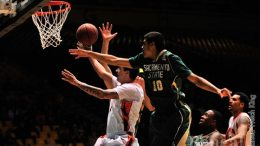 Tomas Sanchez, 1, drives to the basket against Sacramento State.