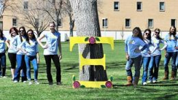 Alpha Xi Delta members pose at last year's AmaXing Challenge fundraiser for Autism Speaks.