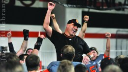 Head Coach Mike Kramer and the Bengal Football team celebrate after their win over Cal Poly Nov. 8.