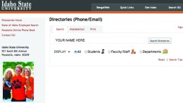 The ISU Directory can be accessed at http://ds.netel.isu.edu/isdb/.