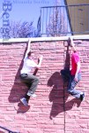 Ben Moore and Alex Tighe show off their parkour skills.