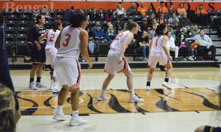 ISU Women's basketball team on the court