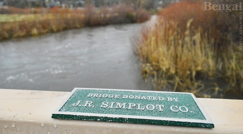 "Portneuf River ""Bridge Donated by J.R. Simplot Co."" plaque"