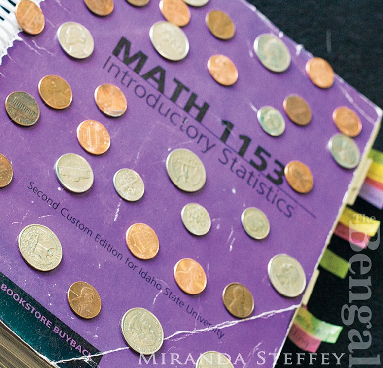 Math 1153 textbook with various coins on the cover.