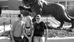 Crighton family in front of Bengal statue