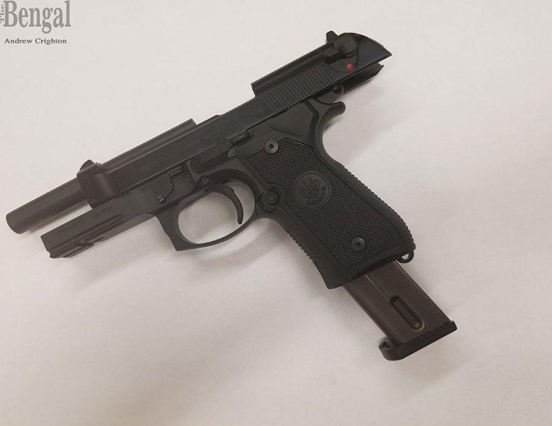 A Beretta M9a1 model pistol.