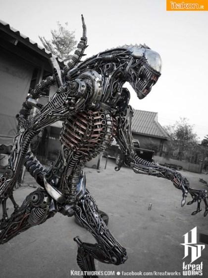 240cm Biomechanical Recycled Metal Alien