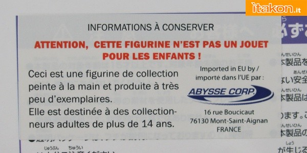 "Adhesive ""Abysse Corp"", French firm authorized imports of original products from Japan; between the distributors and the most important historians in Europe"