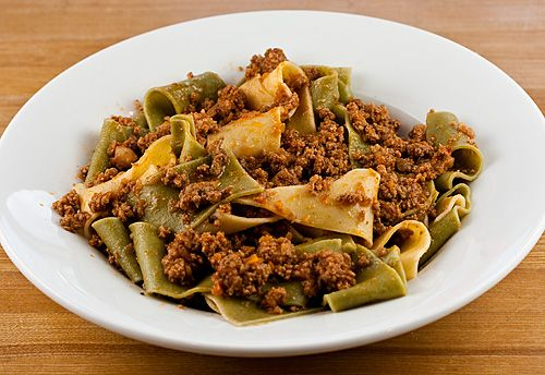 Sunday Dinner: Green and White Pappardelle Bolognese