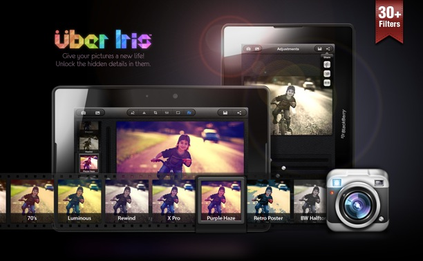 uber iris per fotografia con blackberry playbook