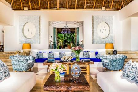 wide and modern mexican interior design living room with white mexician decoration theme