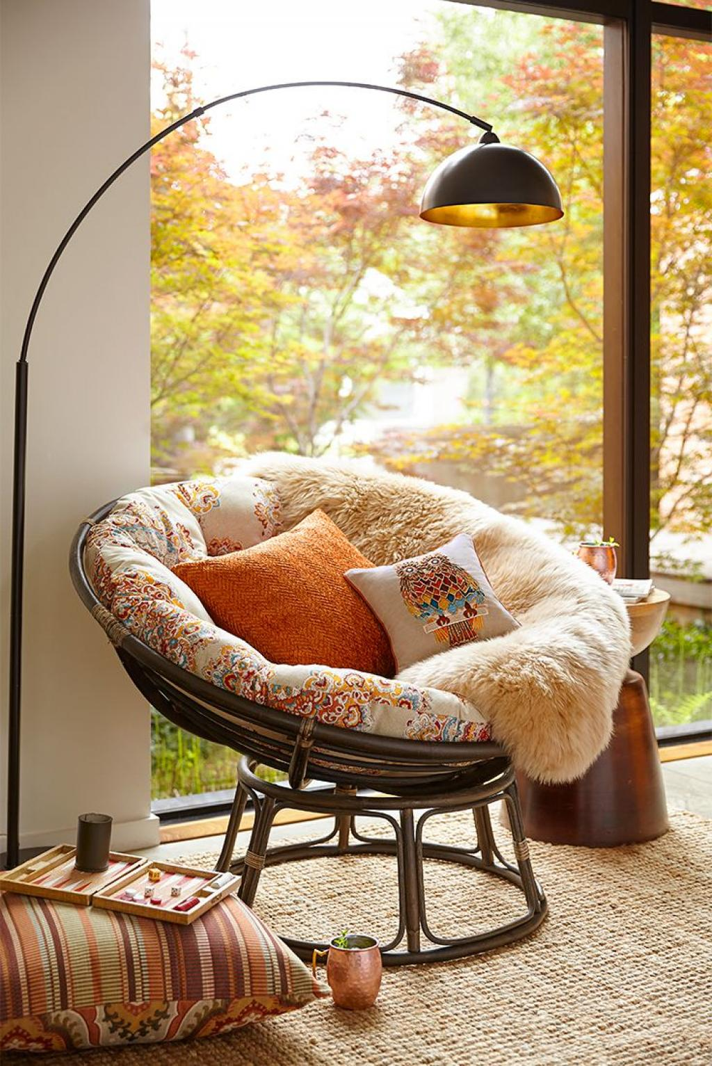 Horrible Copper Lamp Reading Chair Rattan Material Reading Papasan Chair furniture Floor Reading Chair