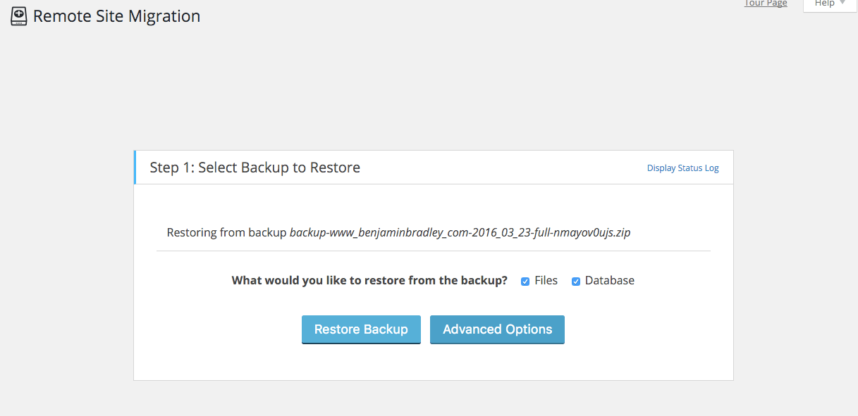 Migrate WordPress restore