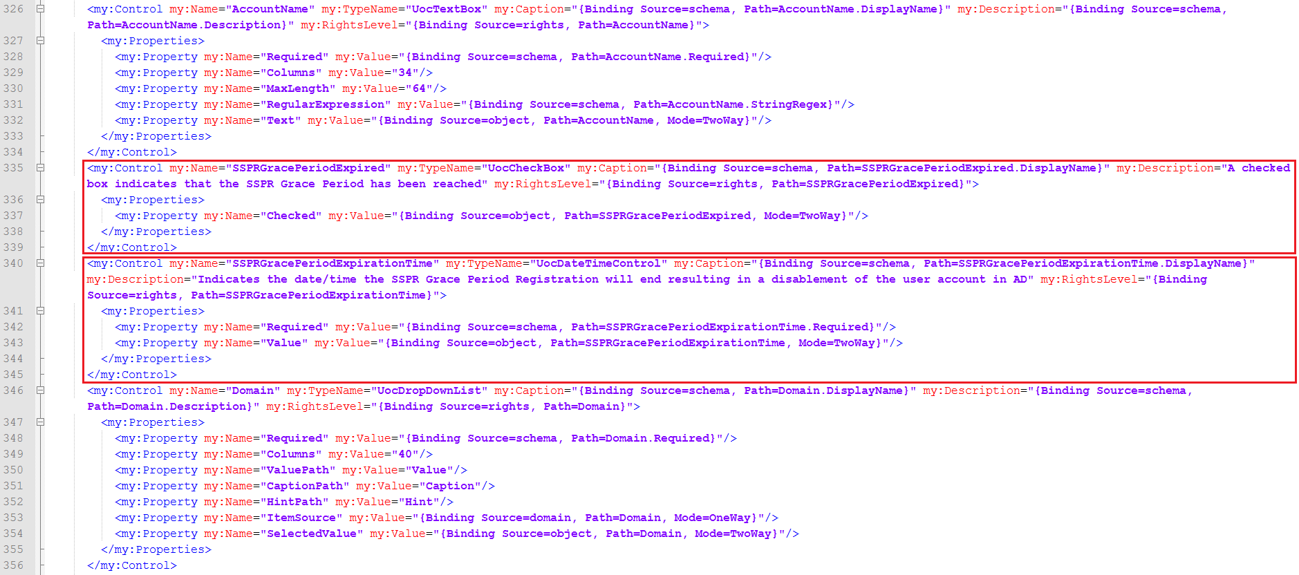 SSPR Forcing Function Screenshot: RCDC User Edit XML Code