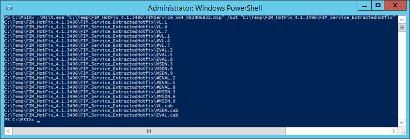 Implementing MIMWAL Screenshot - Running the msix.exe against the FIMService_x64_KB2906832.msp file