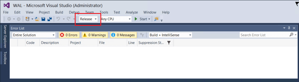 Implementing MIMWAL Screenshot: Using Microsoft Visual Studio to compile software; Build|Release.