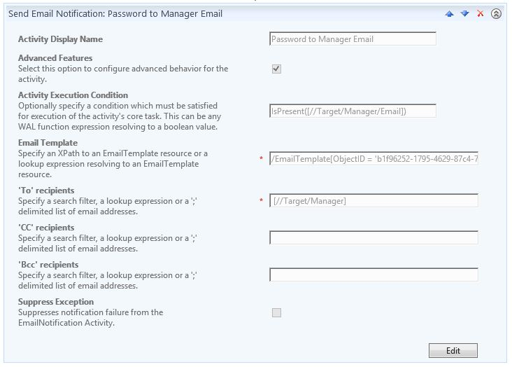 Send Email Notification Activity - Password to Manager Email