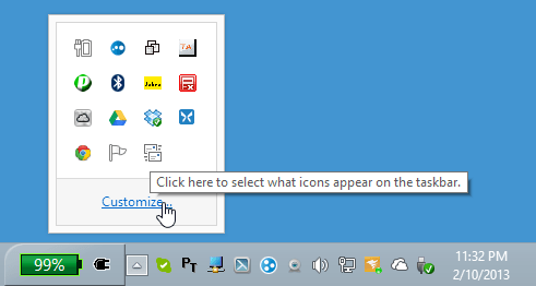 click the 'Show hidden icons' up arrow in the system tray, choose 'Customize...'