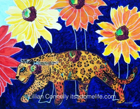 """""""Leopard in the Flower Jungle"""" 11x14 mixed media on canvas board by Lillian Connelly."""