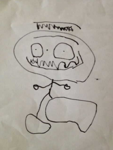 three-year-old's portrait of Daddy